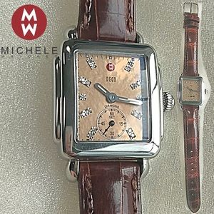 Michele Deco Diamond Mid Rose Gold Face Watch